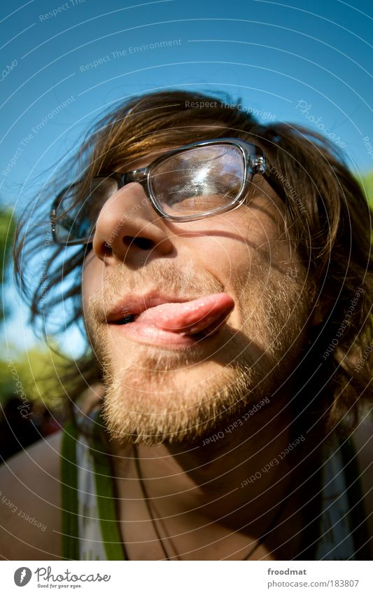 tongue twister Colour photo Multicoloured Exterior shot Day Light Portrait photograph Front view Forward Human being Masculine Young man Youth (Young adults)
