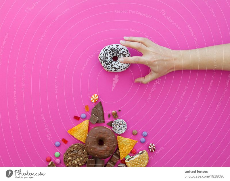 AKCGDR# My Art Work of art Esthetic Kitsch Donut Candy Delicious Unhealthy Hand Grasp Pink Chocolate Cookie Flat bread Chocolate buttons Gummy bears Calorie