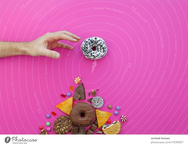 AKCG# Mine Art Work of art Esthetic Avaricious Grasp Donut Hand Candy Chocolate Flat bread Crisps Chocolate buttons Gummy bears Pink Fingers Man Diet