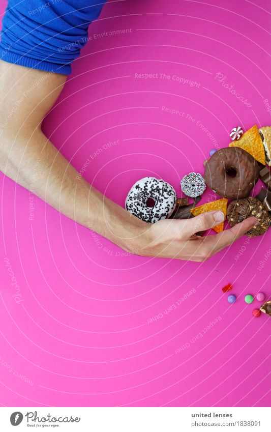 AKCG# Sweets-America II Art Work of art Painting and drawing (object) Youth culture Event Shows Party Esthetic Arm Avaricious Hand Pink Donut Chocolate