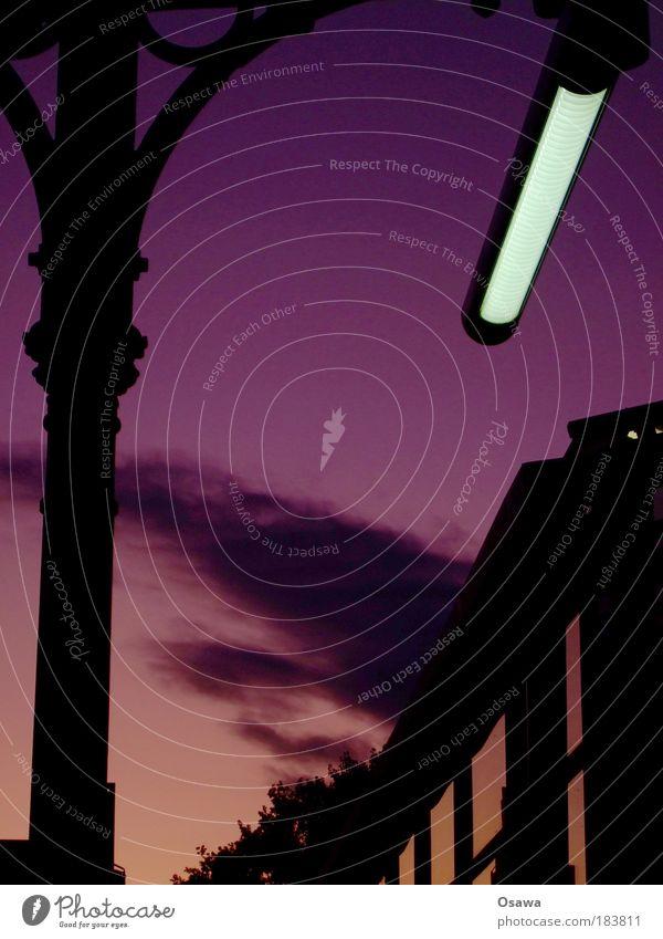 Sky Red Clouds Black Lamp Pink Violet Colour Train station Column Copy Space Neon light Prop Format Portrait format Cast iron