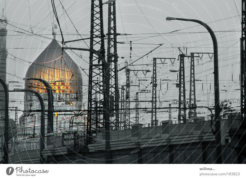 yenidze - voltage ORIENTED Dresden Manmade structures Architecture Tourist Attraction Landmark Monument Yenidze Mosque Tabacco factory Domed roof