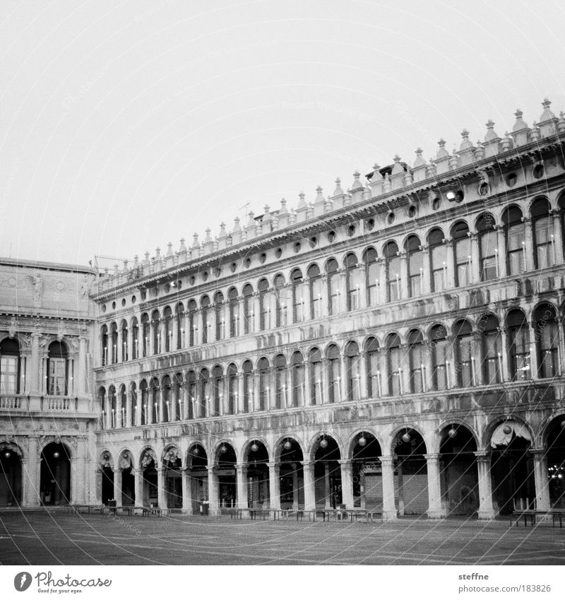Piazza San Marco Black & white photo Exterior shot Deserted Copy Space top Venice Italy Downtown Old town House (Residential Structure) Manmade structures