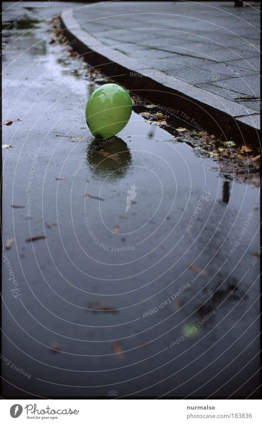 Green Black Loneliness Street Dark Cold Autumn Rain Art Environment Flying Crazy Lifestyle Happiness Gloomy Balloon