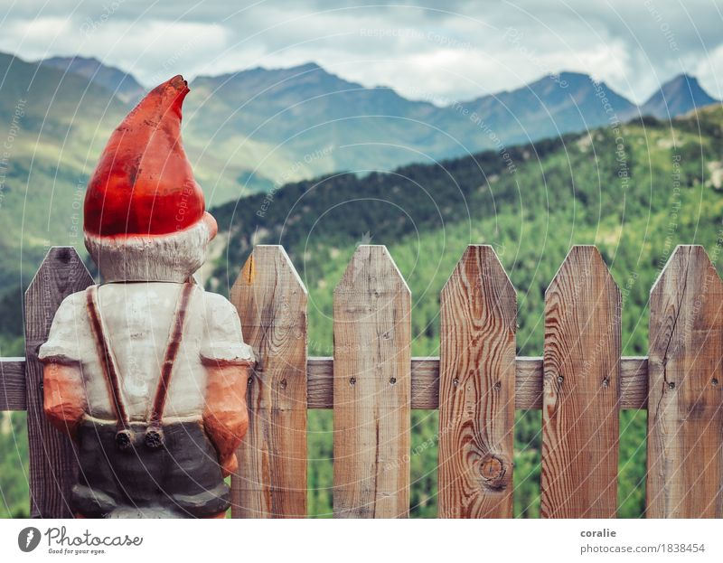 mountain dwarf Alps Mountain Peak Observe Dwarf Fence Fence post Red Little Red Riding Hood Cap Suspenders View from a window Vantage point Back Rear view Small