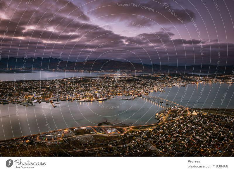 Dark Lighting Glittering Bridge Historic Violet Discover Navigation North Sea Port City Norway Fjord Night shot Tromsø