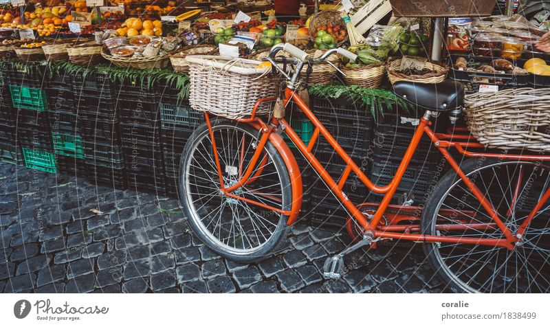 market day Marketplace Town Bicycle Basket Red Market stall Markets Maritime Vacation photo Shopping Organic produce Fruit Vegetable market Fruit seller
