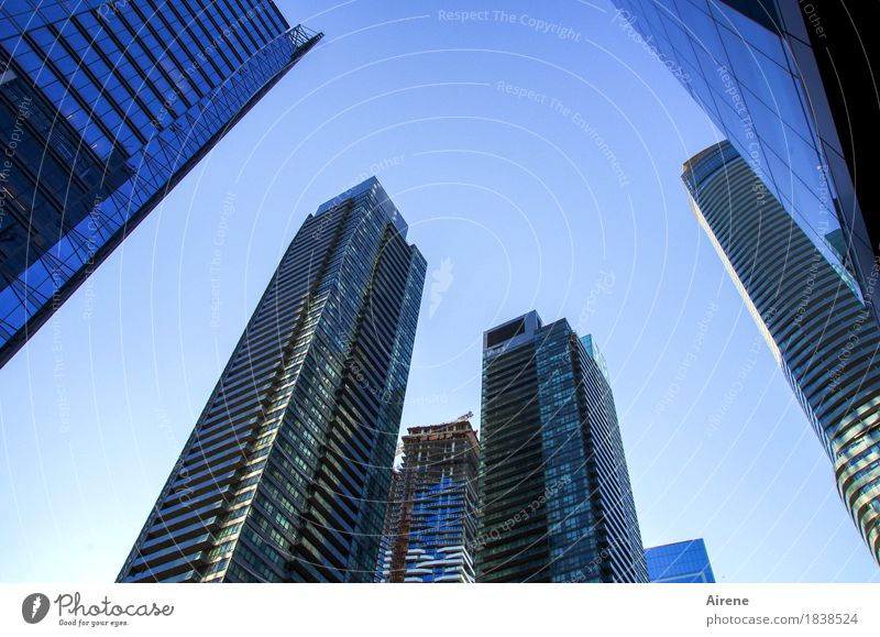 Symbols of Power IV Sky Cloudless sky Beautiful weather Town Downtown Skyline Deserted High-rise Facade Concrete Glass Living or residing Hip & trendy Tall Blue