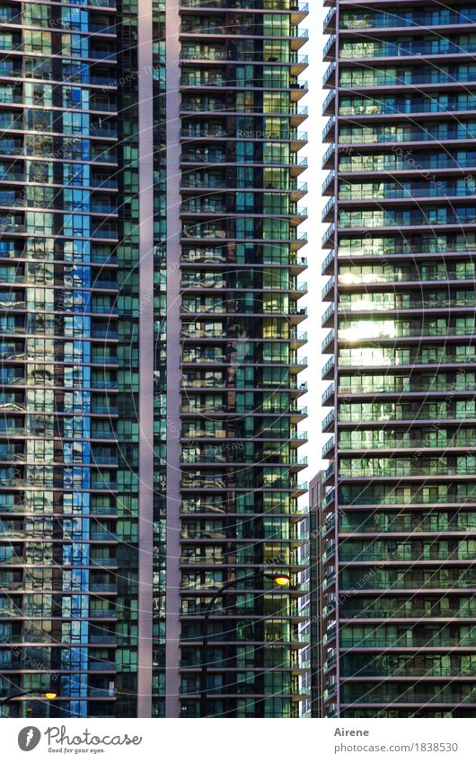 Blue City Loneliness House (Residential Structure) Exceptional Facade Line Living or residing Glittering Modern Glass High-rise Arrangement Gloomy Tall Concrete