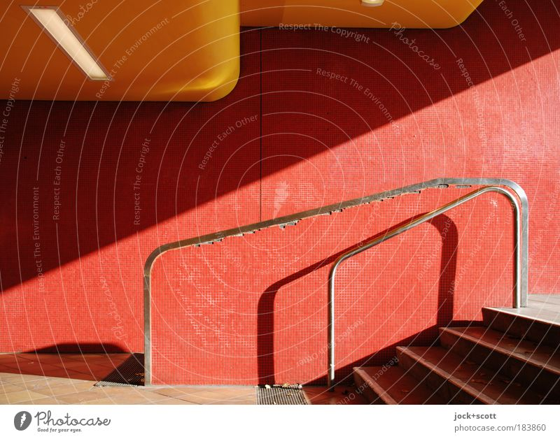 Jungfernheide railway station Wall (building) Stairs Tunnel Authentic Modern Red Lanes & trails Tile Entrance Shadow play Diagonal Blanket Tilt