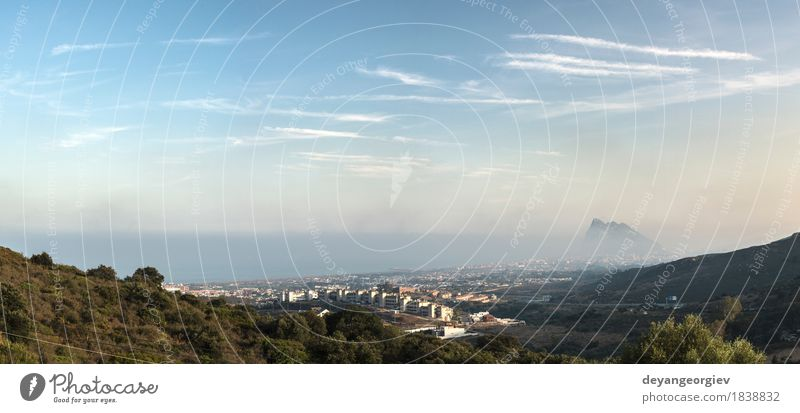 View from Gibraltar. Vacation & Travel Tourism Ocean Mountain Nature Landscape Sky Rock Coast Small Town Aircraft Historic Vantage point Spain mediterranean bay