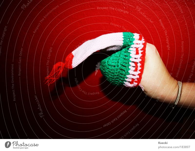 Sausage fingers. Colour photo Interior shot Close-up Neutral Background Flash photo Light Shadow Contrast Joy Handcrafts Knit Fingers Protective clothing