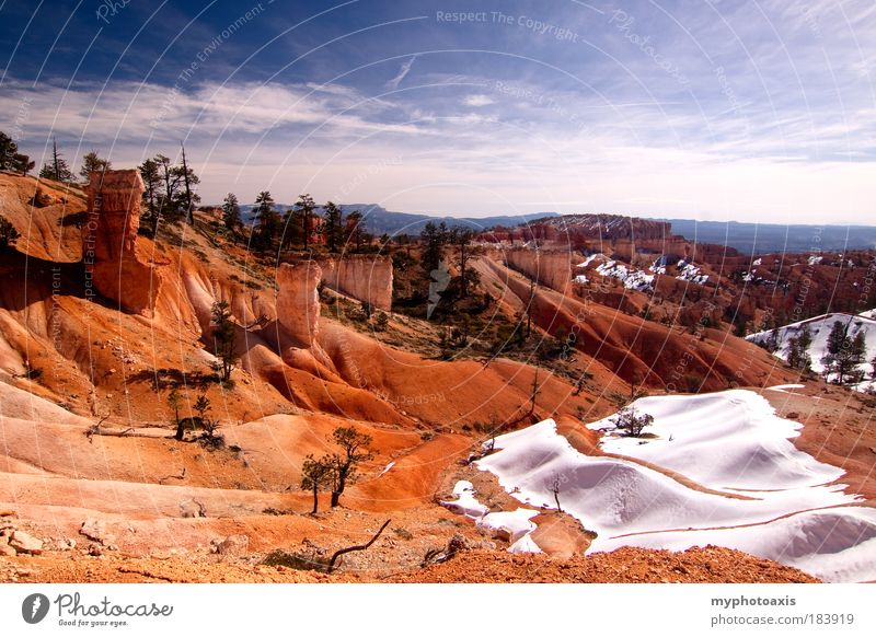 Some snow in the hills of Bryce Canyon Nature Sky Blue Winter Vacation & Travel Clouds Snow Mountain Sand Rock Desert Hill Canyon USA Utah Bryce Canyon