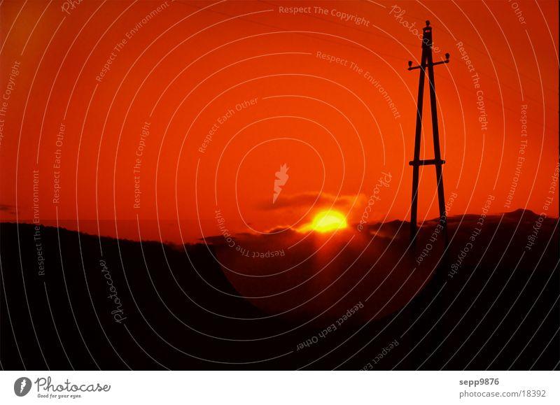 Sun down Sunset Electricity pylon Landscape