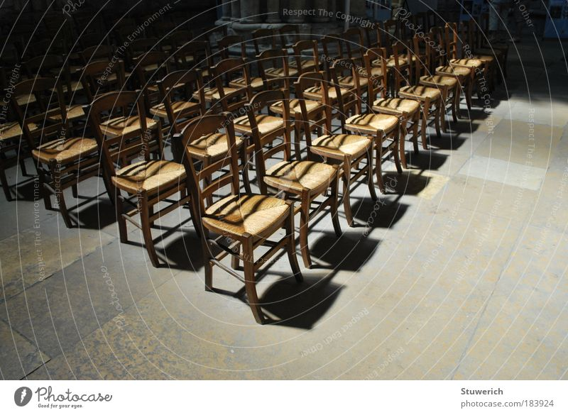 chairs Colour photo Interior shot Deserted Day Light Shadow Contrast Silhouette Sunlight Wide angle Summer vacation Church Esthetic Authentic Moody Truth