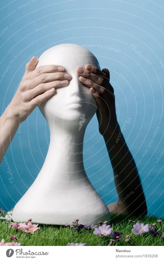 Human being Hand Head Distress Identity Bald or shaved head Close Blind Keep sth. closed  Invisible Ignore Styrofoam