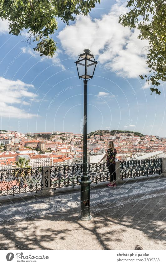Miradouro Vacation & Travel Tourism Trip Far-off places City trip Summer Summer vacation Feminine Woman Adults 1 Human being Clouds Beautiful weather Park
