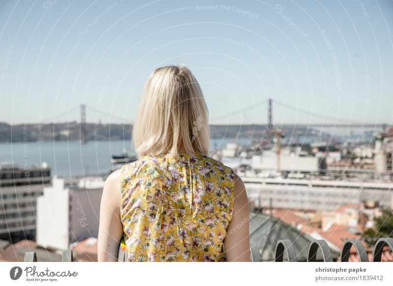 Welcome to Lisboa Vacation & Travel Tourism Trip Far-off places Freedom Sightseeing City trip Summer Sun Feminine Woman Adults Head Hair and hairstyles 1
