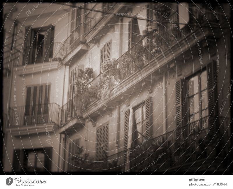 Old City House (Residential Structure) Window Building Architecture Flat (apartment) Facade Living or residing Village Black & white photo Balcony Manmade structures Spain Handrail