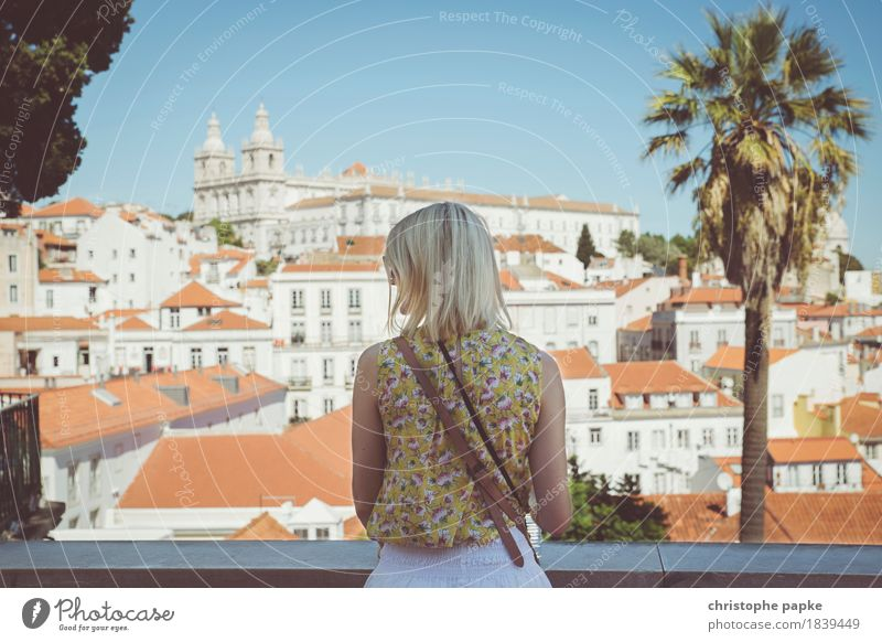 Human being Vacation & Travel Youth (Young adults) City Summer Young woman Adults Feminine Tourism Blonde Church Beautiful weather Manmade structures Skyline