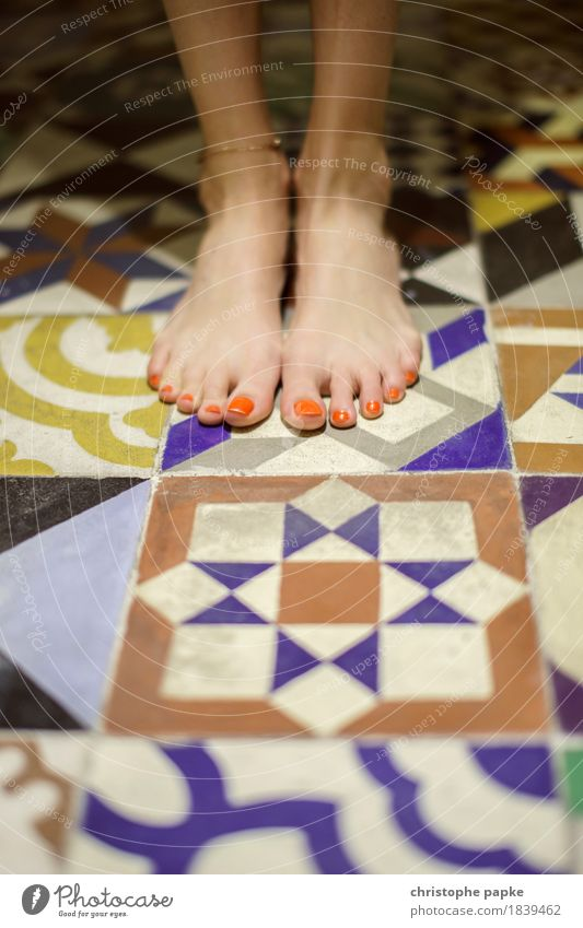 Old tiles Feminine Feet Stone Ornament Sit Stand Historic Tile Toes Nail polish Characteristic Portugal Pattern Ornamental Floor covering Colour photo