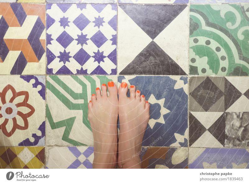 tiled floor Living or residing Flat (apartment) Bathroom Feminine Feet Stone Ornament Historic Toes Nail polish Tile Characteristic Multicoloured Portuguese