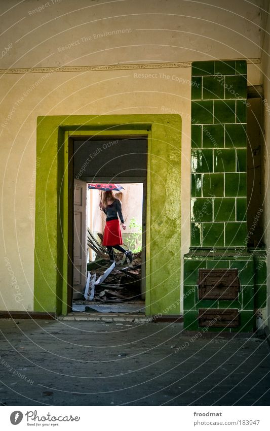 oil Colour photo Multicoloured Interior shot Day Full-length Rear view Forward Looking away Human being House (Residential Structure) Architecture