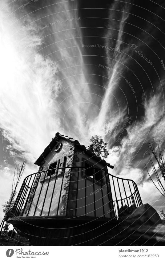 story house Black & white photo Exterior shot Wide angle Sky Clouds House (Residential Structure) Park Playing Playground Children's game Infancy Day
