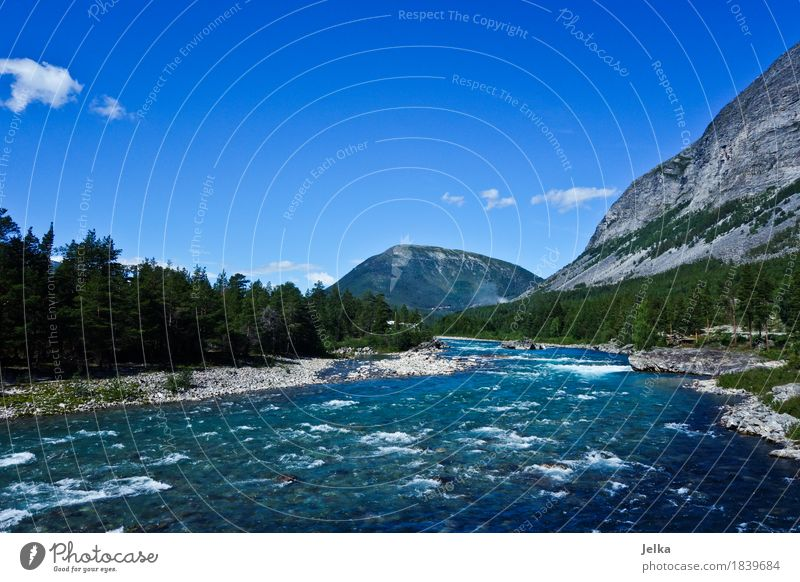 Sky Blue Summer Water Landscape Mountain Europe River River bank Norway