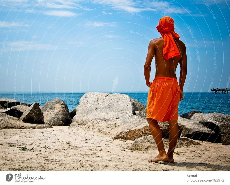 Human being Youth (Young adults) Water Sky Sun Ocean Summer Beach Vacation & Travel Clouds Man Orange Coast Body Adults Masculine