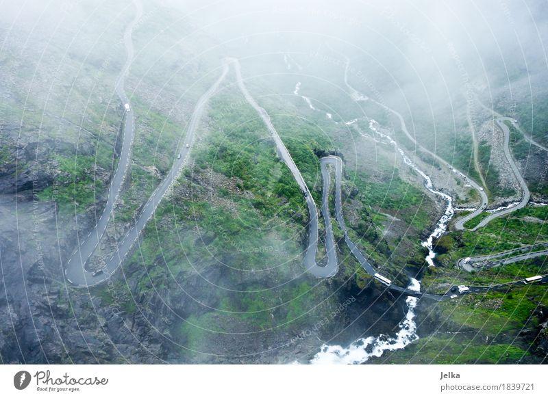 road up Nature Landscape Clouds Bad weather Fog Mountain trollindene Trollstigen Waterfall Norway Europe Tourist Attraction Traffic infrastructure Road traffic