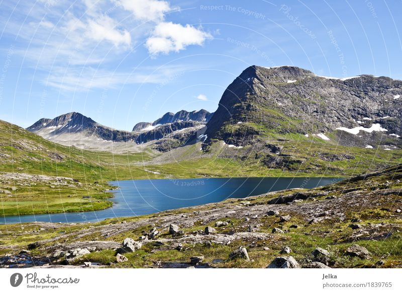 Sky Nature Vacation & Travel Summer Water Landscape Mountain Lake Tourism Air Hiking Europe Peak Norway Mountain lake Class outing