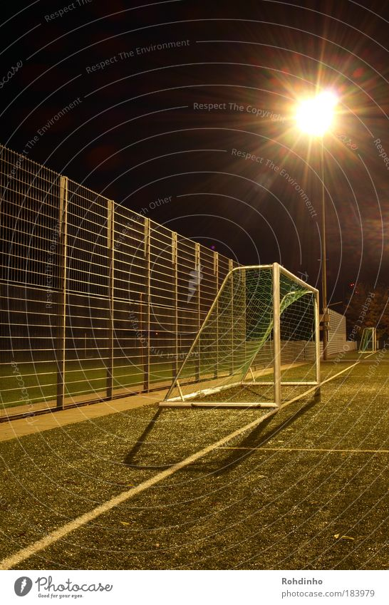 Gate,gate,gate! Exterior shot Deserted Night Light (Natural Phenomenon) Back-light Long exposure Central perspective Ball sports Sporting event Soccer