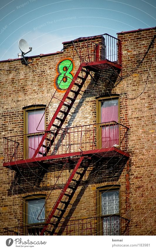Sky Green Red House (Residential Structure) Wall (building) Window Wall (barrier) Graffiti Brown Door Facade Building City Digits and numbers Brick