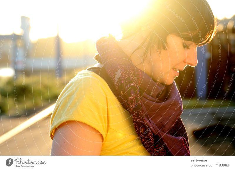 Human being Youth (Young adults) Sun Portrait photograph Yellow Woman Autumn Feminine Contentment Adults Hope T-shirt Meditative Sunrise Brunette