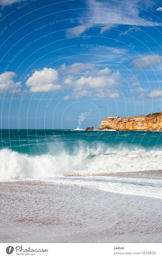 a little sea. Vacation & Travel Tourism Nature Landscape Elements Water Sky Clouds Beautiful weather Waves Coast Threat Blue Green Infinity Atlantic Ocean