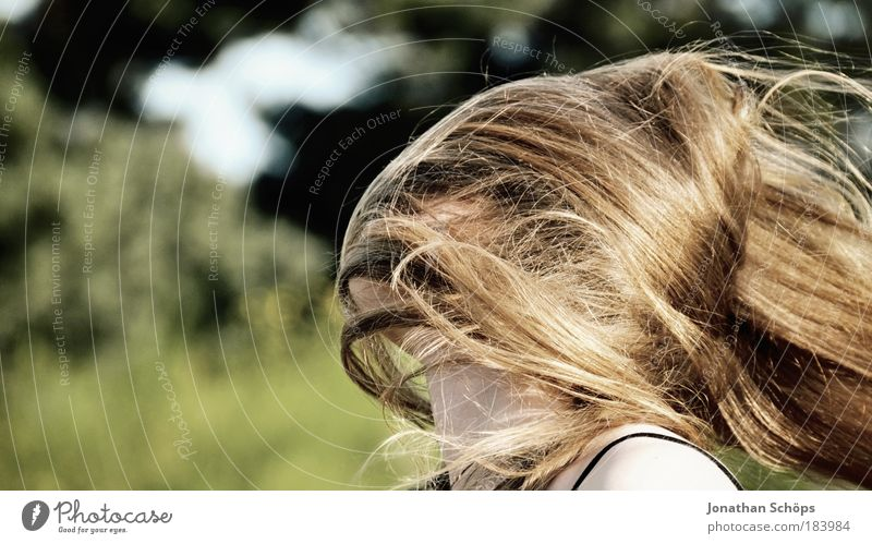 automatic obfuscation by the wind Colour photo Exterior shot Copy Space left Sunlight Shallow depth of field Profile Human being Feminine girl Young woman
