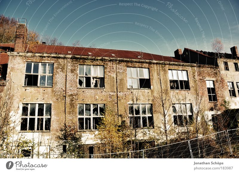 The beauty of decay Colour photo Exterior shot Copy Space top Day Light Sunlight Deep depth of field Town Outskirts Deserted House (Residential Structure) Ruin