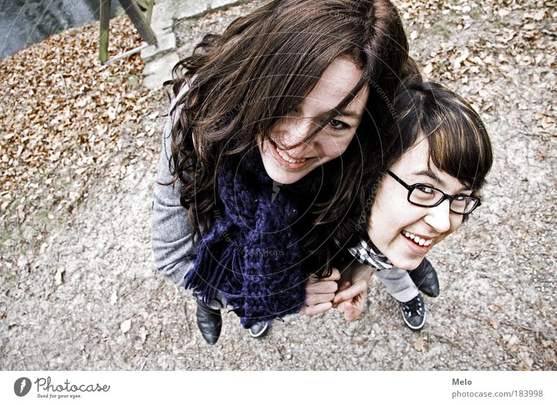 Youth (Young adults) Joy Feminine Movement Happy Friendship Brown Contentment Trip Happiness Human being Lifestyle Looking Perspective Joie de vivre (Vitality)