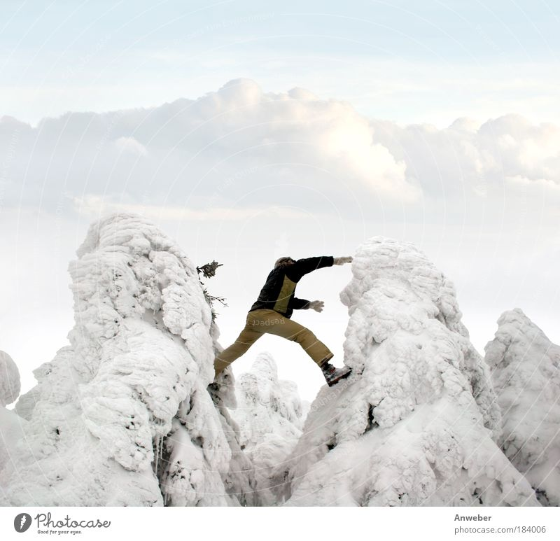 Nature Youth (Young adults) Vacation & Travel Winter Joy Environment Landscape Life Human being Snow Playing Mountain Sports Freedom Jump Black & white photo