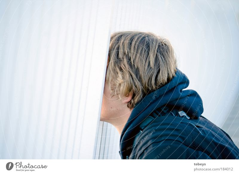 with your head through the wall Parenting Advancement Future High-tech Masculine Young man Youth (Young adults) Observe Looking Emotions Brave Determination