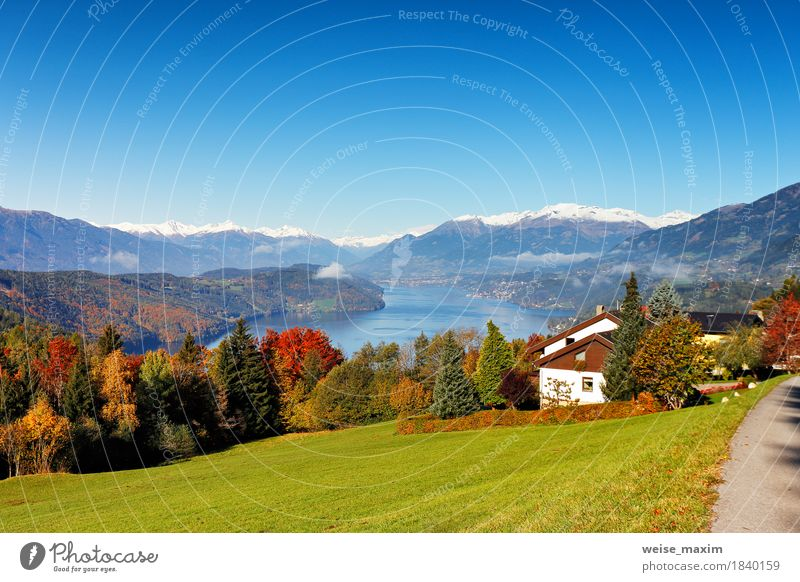 Sunny autumn day on the lake in mountains of south Austria Nature Vacation & Travel Blue Landscape Relaxation House (Residential Structure) Far-off places
