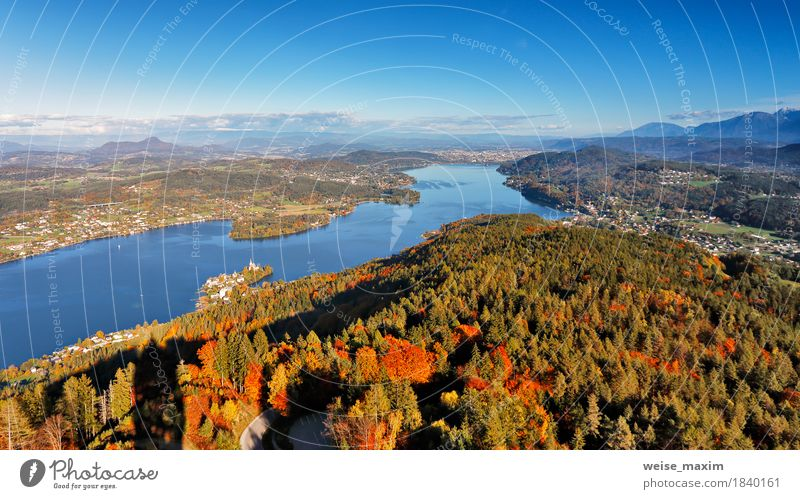 Sunny autumn day on the lake in mountains of south Austria Nature Vacation & Travel Blue Tree Landscape Relaxation House (Residential Structure) Far-off places