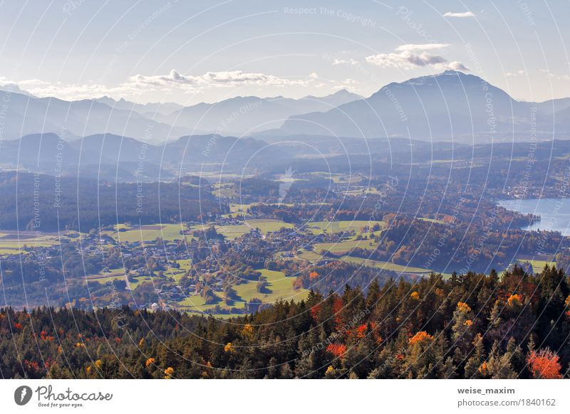 Sunny autumn day on the lake in mountains of south Austria Sky Nature Vacation & Travel Blue Tree Landscape Relaxation Clouds House (Residential Structure)