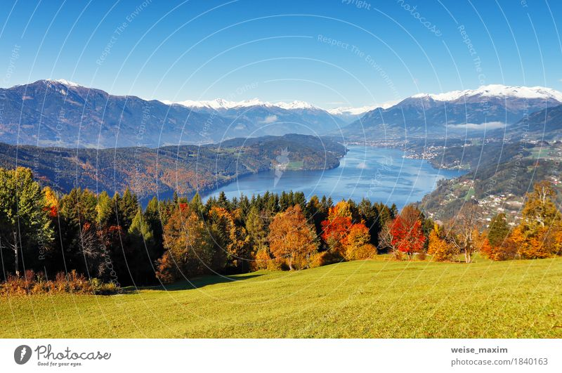 Sunny autumn day on the lake in mountains of south Austria Sky Nature Vacation & Travel Blue Landscape Relaxation House (Residential Structure) Far-off places Forest Mountain Meadow Autumn Natural Snow Freedom Lake