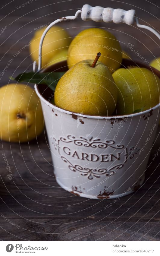 Ripe yellow pears in white metal bucket Food Fruit Dessert Nutrition Vegetarian diet Diet Crockery Summer Table Nature Autumn Wood Old Fresh Delicious Natural