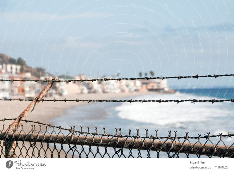fenced out Water Ocean Beach Sand Waves Safety Fence Barrier Surf California Pacific Ocean Dream house Town Malibu
