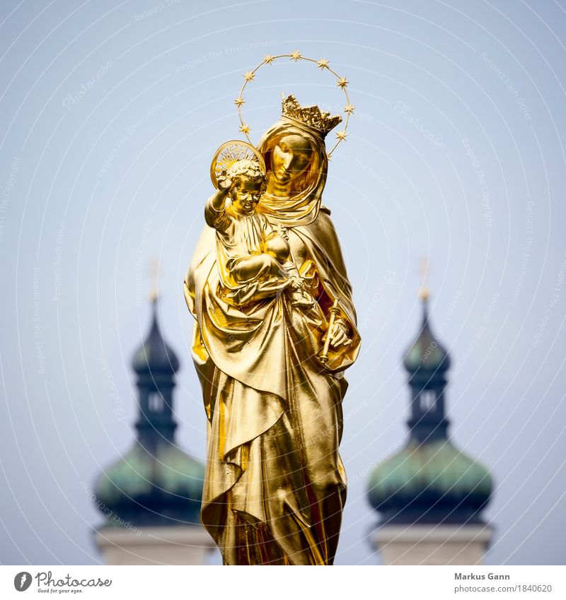Maria Statue Tutzing Sculpture Gold golden Virgin Mary Jesus Christ tutzing Symbols and metaphors Religion and faith Church Sky Exterior shot Colour photo