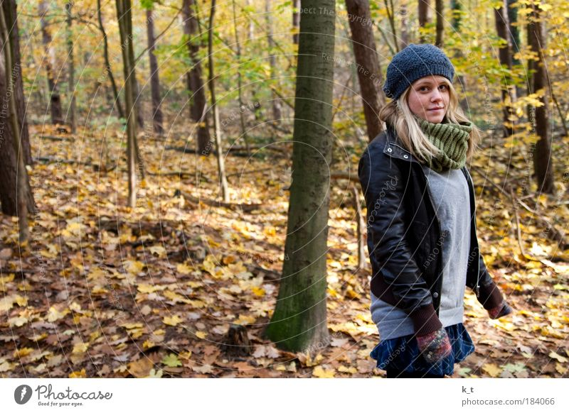 Autumn with beauty Feminine Young woman Youth (Young adults) 1 Human being 18 - 30 years Adults Forest Cloth Leather Scarf Cap Blonde Long-haired Relaxation