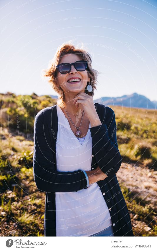 Female mature adult with sunglasses enjoying life smiling Human being Woman Nature Vacation & Travel Summer Joy Mountain Adults Life Emotions Senior citizen Lifestyle Feminine Laughter Freedom Leisure and hobbies